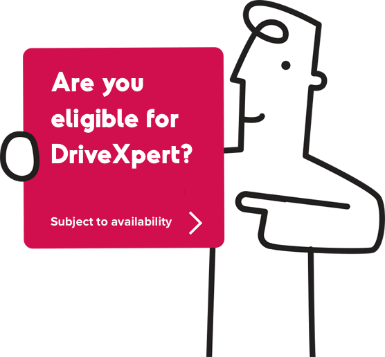 Man carrying a box reading Are you eligible for DriveXpert? Subject to availability